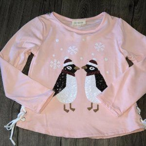 NEW Btween Girls Fleece Top w Sequin Penguins
